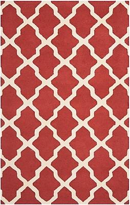 Safavieh Zoey Cambridge Wool Pile Area Rug, Rust/Ivory, 5' x 8'