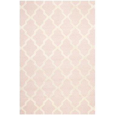 Safavieh Zoey Cambridge Wool Pile Area Rug, Light Pink/Ivory, 8' x 10'