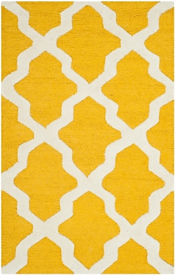 Safavieh Zoey Cambridge Wool Pile Area Rug, Gold/Ivory, 2' x 3'