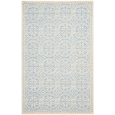 Safavieh Wyatt Cambridge Wool Pile Area Rug, Light Blue/Ivory, 5' x 8'