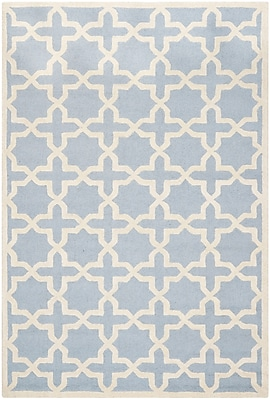 Safavieh Trinity Cambridge Wool Pile Area Rug, Light Blue/Ivory, 5' x 8'