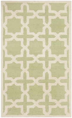 Safavieh Trinity Cambridge Wool Pile Area Rug, Light Green/Ivory, 2' x 3'