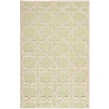 Safavieh Trinity Cambridge Wool Pile Area Rug, Light Green/Ivory, 4' x 6'