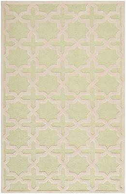 Safavieh Trinity Cambridge Wool Pile Area Rug, Light Green/Ivory, 4' x 6'