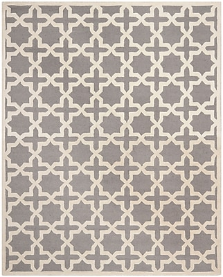 Safavieh Trinity Cambridge Wool Pile Area Rug, Silver/Ivory, 9' x 12'