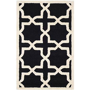 Safavieh Trinity Cambridge Wool Pile Area Rug, Black/Ivory, 2' x 3'