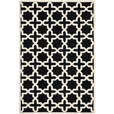 Safavieh Trinity Cambridge Wool Pile Area Rug, Black/Ivory, 4' x 6'