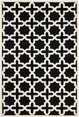 Safavieh Trinity Cambridge Wool Pile Area Rug, Black/Ivory, 5' x 8'
