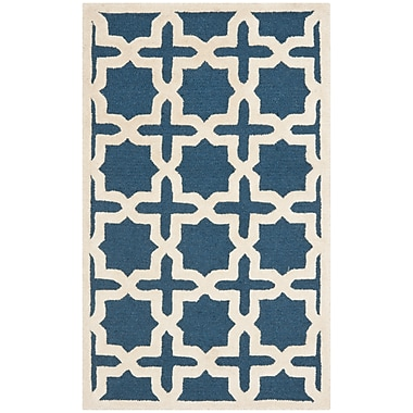 Safavieh Trinity Cambridge Wool Pile Area Rug, Navy Blue/Ivory, 3' x 5'