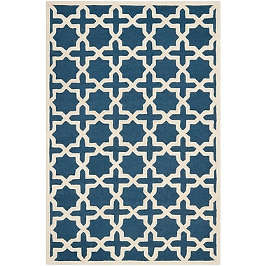 Safavieh Trinity Cambridge Wool Pile Area Rug, Navy Blue/Ivory, 5' x 8'