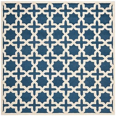Safavieh Trinity Cambridge Wool Pile Area Rug, Navy Blue/Ivory, 6' x 6'