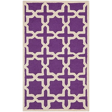 Safavieh Trinity Cambridge Wool Pile Area Rug, Purple/Ivory, 2' x 3'