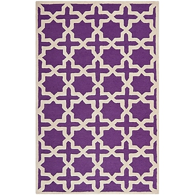 Safavieh Trinity Cambridge Wool Pile Area Rug, Purple/Ivory, 4' x 6'