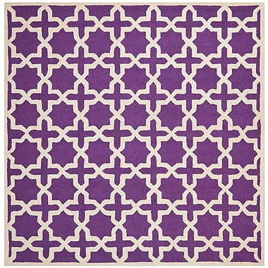 Safavieh Trinity Cambridge Wool Pile Area Rug, Purple/Ivory, 8' x 8'