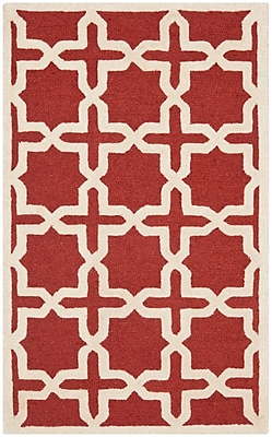 Safavieh Trinity Cambridge Wool Pile Area Rug, Rust/Ivory, 2' x 3'
