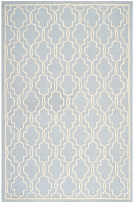 Safavieh Scarlett Cambridge Wool Pile Area Rug, Light Blue/Ivory, 6' x 9'