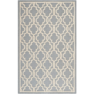 Safavieh Scarlett Cambridge Wool Pile Area Rug, Silver/Ivory, 5' x 8'
