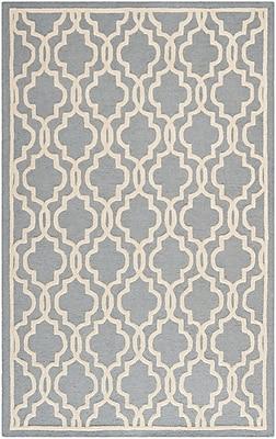 Safavieh Scarlett Cambridge Wool Pile Area Rug, Silver/Ivory, 5' x 8'