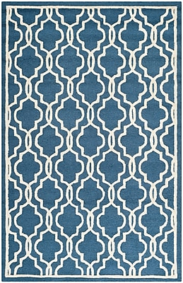 Safavieh Scarlett Cambridge Wool Pile Area Rug, Navy/Ivory, 5' x 8'
