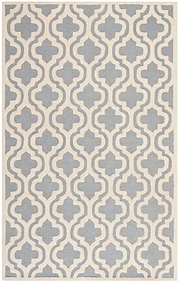 Safavieh Rachel Cambridge Wool Pile Area Rug, Silver/Ivory, 5' x 8'