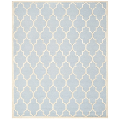 Safavieh Penelope Cambridge Wool Pile Area Rug, Light Blue/Ivory, 8' x 10'