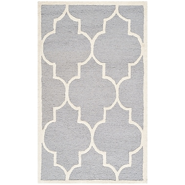 Safavieh Penelope Cambridge Wool Pile Area Rug, Silver/Ivory, 3' x 5'