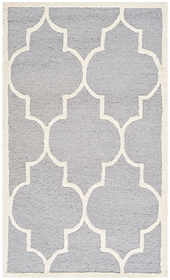 Safavieh Penelope Cambridge Wool Pile Area Rug, Silver/Ivory, 3' x 5'