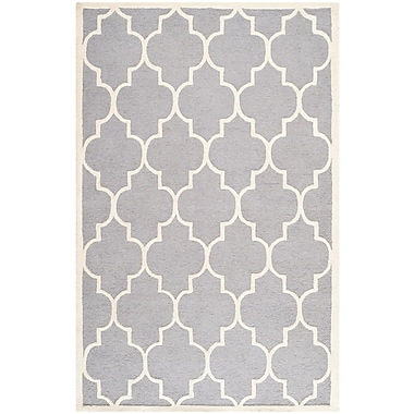 Safavieh Penelope Cambridge Wool Pile Area Rug, Silver/Ivory, 5' x 8'