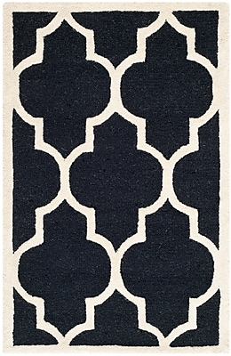 Safavieh Penelope Cambridge Wool Pile Area Rug, Black/Ivory, 2' x 3'