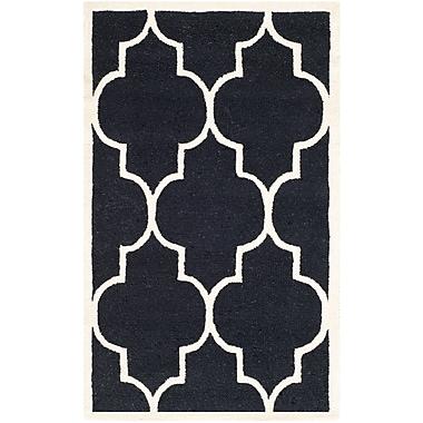 Safavieh Penelope Cambridge Wool Pile Area Rug, Black/Ivory, 3' x 5'