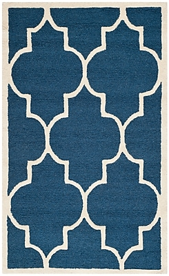 Safavieh Penelope Cambridge Wool Pile Area Rug, Navy/Ivory, 3' x 5'