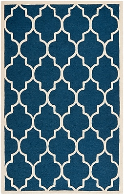 Safavieh Penelope Cambridge Wool Pile Area Rug, Navy/Ivory, 5' x 8'