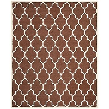 Safavieh Penelope Cambridge Wool Pile Area Rug, Dark Brown/Ivory, 8' x 10'