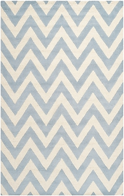 Safavieh Kimberly Cambridge Wool Pile Area Rug, Light Blue/Ivory, 5' x 8'