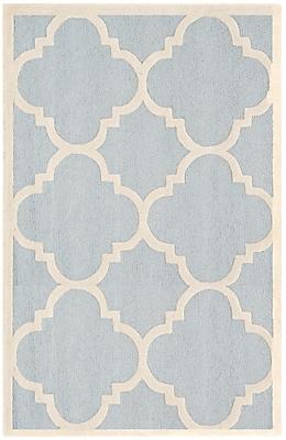 Safavieh Jasmine Cambridge Wool Pile Area Rug, Light Blue/Ivory, 5' x 8'