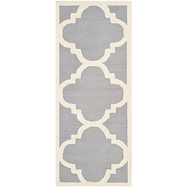Safavieh Jasmine Cambridge Wool Pile Area Rug, Silver/Ivory, 2' 6