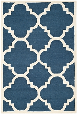 Safavieh Jasmine Cambridge Wool Pile Area Rug, Navy/Ivory, 4' x 6'