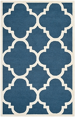 Safavieh Jasmine Cambridge Wool Pile Area Rug, Navy/Ivory, 5' x 8'