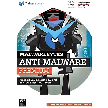 Anti-Malware Premium, 3 PC, abonnement d'un an, bilingue