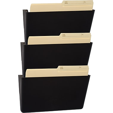 Storex 100% Post Consumer Recycled Unbreakable Wall File, Letter Size, Black, 3/Pack