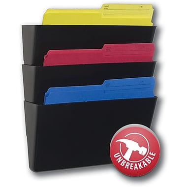 Storex 100% Post Consumer Recycled Unbreakable Wall File, Legal Size, Black, 3/Pack