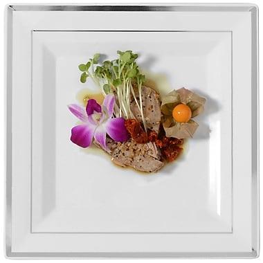 Fineline Settings Silver Splendor 5510 Square Dinner Plate, White/Silver