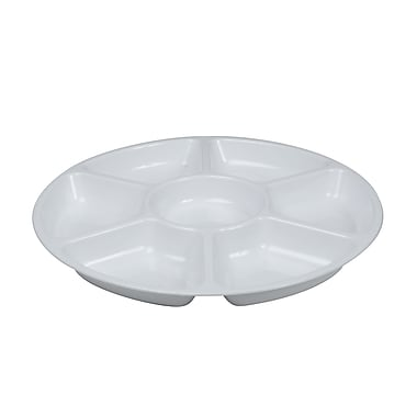 Fineline Settings Platter Pleasers 3507 Seven Compartment Tray, White