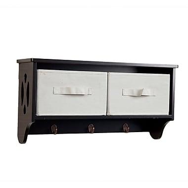 Danya B BQ0213 Entryway Storage Wall Shelf with Canvas Bins and Hooks