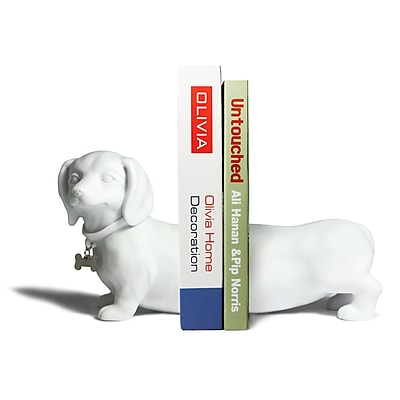 Danya B CSK8026W Dachshund Bookend Set, White