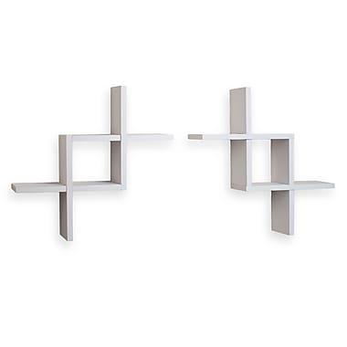 Danya B FF2513W Set of 2 Reversed Criss Cross Shelves, White