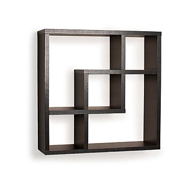 Danya B FF4513B Geometric Square Wall Shelf with 5 Openings, Black