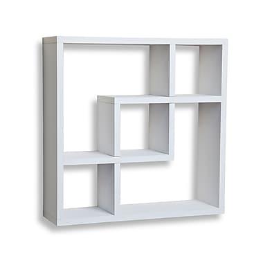 Danya B FF4513W Geometric Square Wall Shelf with 5 Openings, White