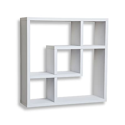 Danya B FF4513W Geometric Square Wall Shelf with 5 Openings, White