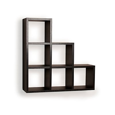 Danya B FF4813B Stepped Six Cubby Decorative Black Wall Shelf